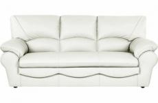 canapé 3 places en 100% tout cuir italien vachette osatis, couleur ivoire