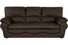 canapé 3 places en 100% tout cuir italien vachette osatis, couleur cchocolat