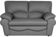 canapé 2 places en 100% tout cuir italien vachette osatis, couleur gris foncé