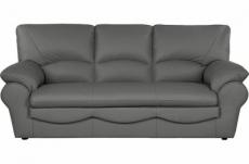 canapé 3 places en 100% tout cuir italien vachette osatis, couleur gris foncé