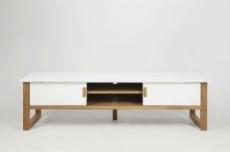 meuble tv design, bois laqué blanc, oslo