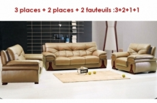 ensemble oxford 4 pièces: composé d'un canapé 3 places + 2 places + 2 fauteuils : 3+2+1+1 en cuir luxe italien vachette, beige , 4x sans frais, total de la commande: 2508 euros, acompte 1200 €, le solde à mettre en place avant la livraison
