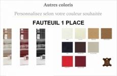 fauteuil une place en cuir luxe italien vachette, couleur personnalisée
