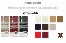 canapé oxford 2 places en cuir luxe italien vachette, couleur personnalisée