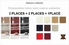 ensemble oxford 3 pièces: composé d'un canapé 3 places + 2 places + fauteuil en cuir luxe italien vachette, couleur personnalisée
