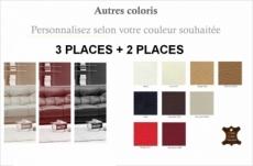 ensemble oxford 2 pièces canapé 3 places + 2 places en cuir luxe italien vachette , couleur personnalisée