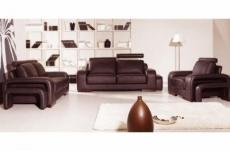 ensemble 3 pièces: canapé 3 places + 2 places + fauteuil en cuir luxe italien vachette, palermo ii, cuir prestige luxe,chocolat