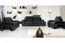 ensemble 3 pièces: canapé 3 places + 2 places + fauteuil en cuir luxe italien vachette, palermo ii, cuir prestige luxe,noir