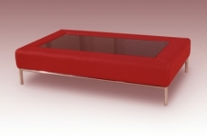table basse design conti, rouge