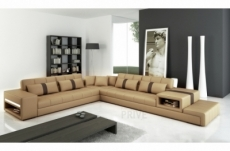 canapé d'angle en cuir italien 6/7 places passion, beige et chocolat