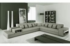 canapé d'angle en cuir italien 6/7 places passion, gris clair / gris foncé