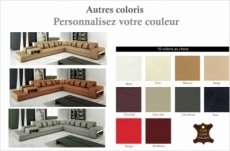 canapé d'angle en cuir italien 6/7 places passion, couleur personnamisée