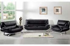 ensemble composé d'un canapé 3 places et d'un canapé 2 places et d'un fauteuil en cuir prestige luxe italien passy, noir