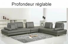canapé d'angle en cuir buffle italien de luxe 7/8 places penthouse, gris foncé, angle droit