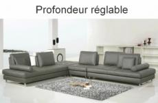 canapé d'angle en cuir buffle italien de luxe 7/8 places penthouse, gris foncé, angle gauche