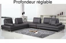canapé d'angle en cuir buffle italien de luxe 7/8 places penthouse, noir, angle gauche