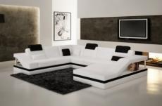 canapé d'angle en cuir italien 8 places perfect, blanc et noir