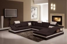 canapé d'angle en cuir italien 8 places perfect, chocolat et blanc