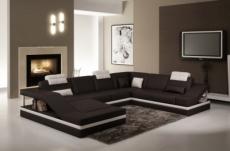 canapé d'angle en cuir italien 8 places perfect, noir et blanc