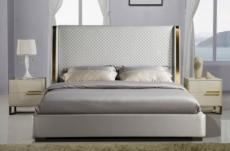 lit design de luxe perfecto, avec sommier à lattes, gris clair pastel, 140x190