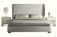 lit design en cuir italien de luxe perfecto, avec sommier à lattes, gris clair pastel, 160x200
