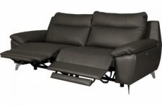 canapé taille 2 places avec 2 relax en 100% tout cuir épais de luxe italien avec 2 relax électriques, perini, anthracite