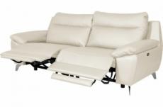 canapé taille 3 places avec 2 relax en 100% tout cuir épais de luxe italien avec 2 relax électriques, perini, blanc cassé