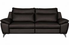 canapé taille 3 places avec 2 relax en 100% tout cuir épais de luxe italien avec 2 relax électriques, perini, chocolat