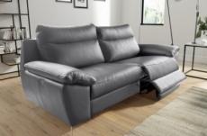canapé taille 2 places avec 2 relax en 100% tout cuir épais de luxe italien avec 2 relax électriques, perini, gris