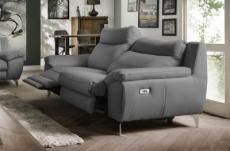 canapé taille 3 places avec 2 relax en 100% tout cuir épais de luxe italien avec 2 relax électriques, perini, gris