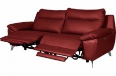canapé taille 3 places avec 2 relax en 100% tout cuir épais de luxe italien avec 2 relax électriques, perini, rouge foncé