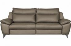 canapé taille 3 places avec 2 relax en 100% tout cuir épais de luxe italien avec 2 relax électriques, perini, couleur taupe