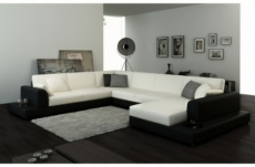 canapé d'angle en cuir italien 6/7 places perla, blanc et noiir