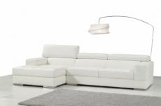canapé d'angle en cuir italien 5 places perle, blanc