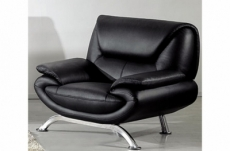 fauteuil 1 place en cuir italien jonah, noir