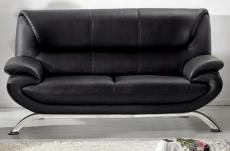 canapé 2 places en cuir italien jonah, noir