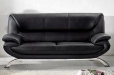 canapé 3 places en cuir italien jonah, noir
