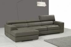canapé d'angle en cuir italien 5 places perle, gris foncé