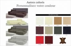 canapé d'angle en cuir italien 5 places perle, couleur personnalisée