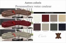 canapé d'angle en cuir buffle italien de luxe 7 places londres couleur personnalisée, angle droit, canapé personnalisé sur mesure sans le bar