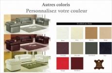 ensemble 3+2+1, canapé 3 places et canapé 2 places et fauteuil 1 place en cuir luxe italien chesterfield, couleur personnalisée