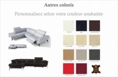 canapé d'angle fonction relax en cuir italien 5 places conforto, couleur personnalisée