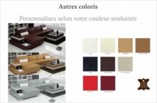 canapé d'angle en cuir italien 5 places enzo, couleur personnalisé