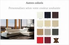 canapé d'angle en cuir italien 6/7 places izen, couleur personnalisée