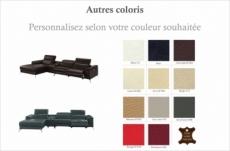 canapé d'angle en cuir italien 5 places relaxia, couleur personnalisée