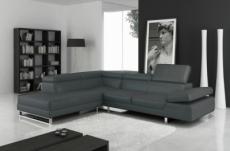 solde paiement de la commande : canapé d'angle en cuir italien 5/6 places - petit george, gris foncé, angle gauche, total 1718 €, 6x sans frais