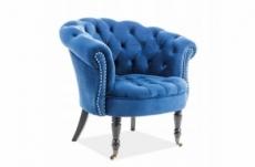 fauteuil en tissu velours de qualité, bleu, phenix