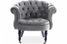 fauteuil en tissu velours de qualité, gris, phenix