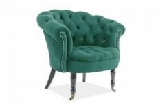 fauteuil en tissu velours de qualité, vert, phenix