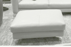 pouf armano en cuir de buffle de luxe, blanc
